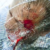 stock photo of gruesome  - Pedestrian hit by a car with blood on the splintered windshield - JPG