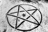 stock photo of pentagram  - Old steel Pentagram closeup photo on background - JPG