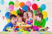 picture of little young child children girl toddler  - Happy family celebrating kids birthday - JPG