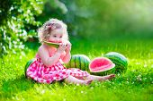 Little Girl Eating Watermelon poster