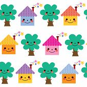 picture of house woods  - houses and trees kids seamless pattern design - JPG