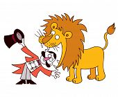 image of lion  - lion tamer putting head in lions mouth hand drawn funny illustration - JPG