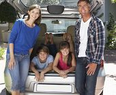picture of car carrier  - Family Sitting In Trunk Of Car - JPG
