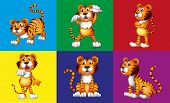 image of cute tiger  - Six different positions of cute tiger - JPG