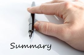 picture of summary  - Pen in the hand isolated over white background Summary concept - JPG