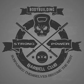 picture of emblem  - Bodybuilding emblem in vintage style - JPG