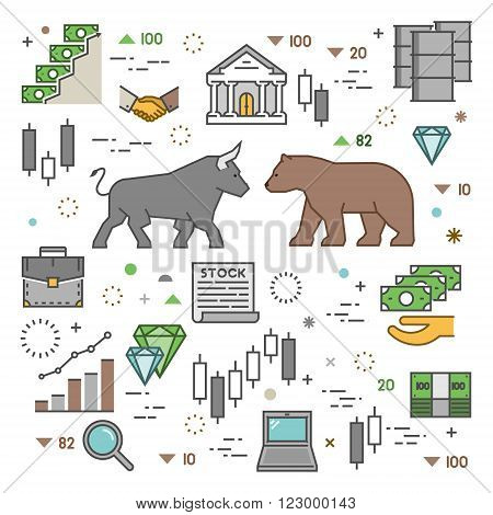 Square concept of stock market. Vector symbol of commodity exchange. Modern banner of stock exchange. Linear concept of stock market.