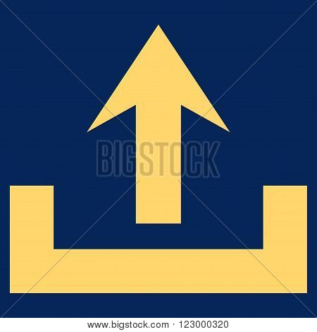 Upload vector pictogram. Image style is flat upload iconic symbol drawn with yellow color on a blue background.