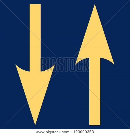 Vertical Exchange Arrows vector icon symbol. Image style is flat vertical exchange arrows icon symbol drawn with yellow color on a blue background.