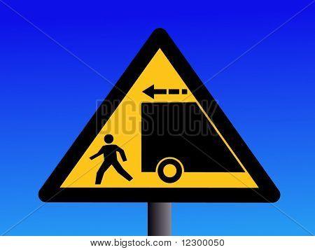 Warning trucks reversing sign on blue illustration