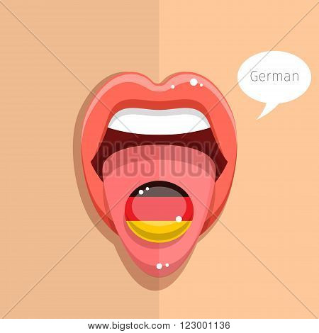 German language concept. German language tongue open mouth with German flag, woman face. Flat design, vector illustration.