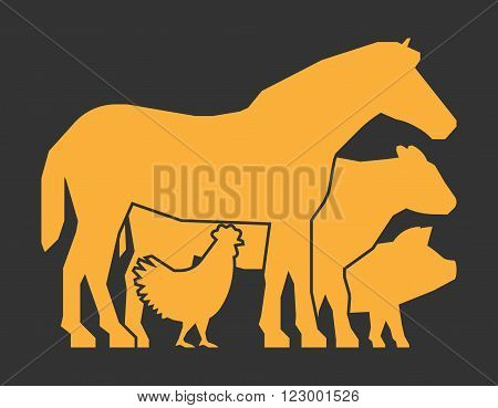 Gold farm animals on a black background. Vector logo for farmers market. Farm animals symbol. Gold silhouette horse pig cow and chicken.