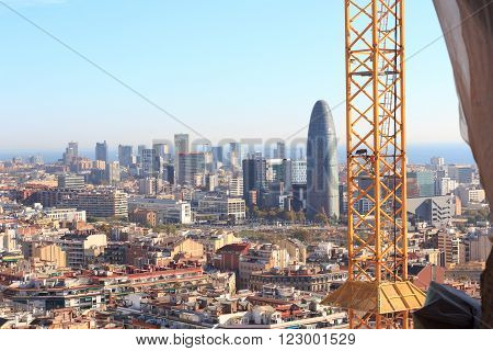 Barcelona skyline (business district) seen from Sagrada Familia tower, Spain