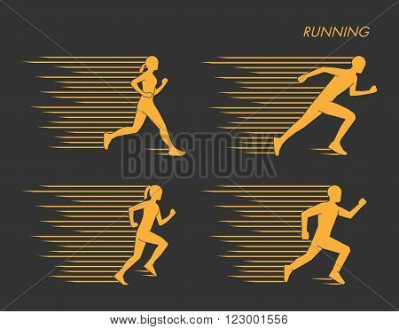 Modern vector symbol for run. Gold set of silhouettes of runners. Vector figure runners. Stylish logo for running on black background.