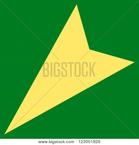 Arrowhead Left-Down vector symbol. Image style is flat arrowhead left-down pictogram symbol drawn with yellow color on a green background.