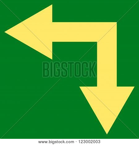 Bifurcation Arrow Left Down vector symbol. Image style is flat bifurcation arrow left down iconic symbol drawn with yellow color on a green background.
