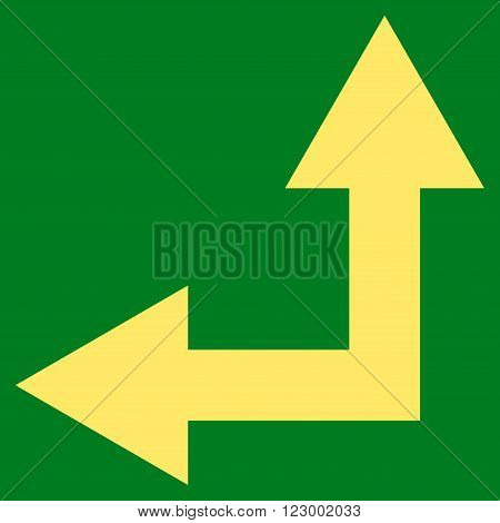 Bifurcation Arrow Left Up vector icon symbol. Image style is flat bifurcation arrow left up iconic symbol drawn with yellow color on a green background.