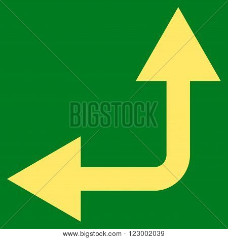 Bifurcation Arrow Left Up vector symbol. Image style is flat bifurcation arrow left up pictogram symbol drawn with yellow color on a green background.