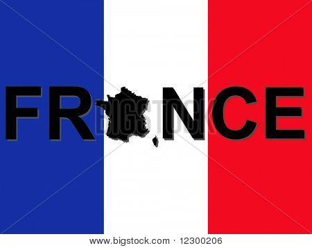 Frankreich-Text mit Karte auf Französisch flag Abbildung JPG