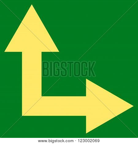 Bifurcation Arrow Right Up vector icon. Image style is flat bifurcation arrow right up pictogram symbol drawn with yellow color on a green background.