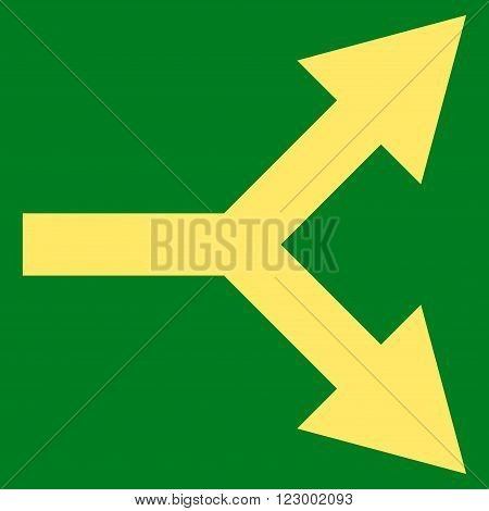Bifurcation Arrow Right vector icon symbol. Image style is flat bifurcation arrow right iconic symbol drawn with yellow color on a green background.