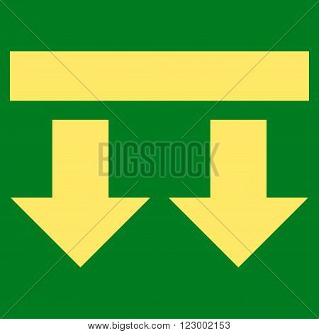 Bring Down vector symbol. Image style is flat bring down iconic symbol drawn with yellow color on a green background.