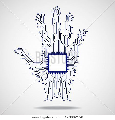 Hand. Cpu. Circuit board finger isolated, cpu, processor