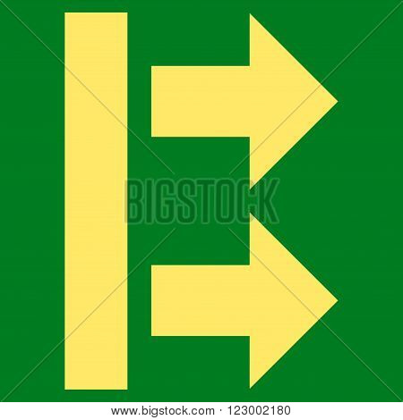 Bring Right vector icon symbol. Image style is flat bring right iconic symbol drawn with yellow color on a green background.