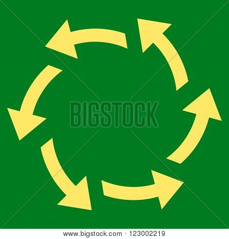 Centrifugal Arrows vector icon. Image style is flat centrifugal arrows iconic symbol drawn with yellow color on a green background.