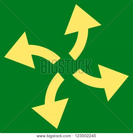 Centrifugal Arrows vector pictogram. Image style is flat centrifugal arrows iconic symbol drawn with yellow color on a green background.