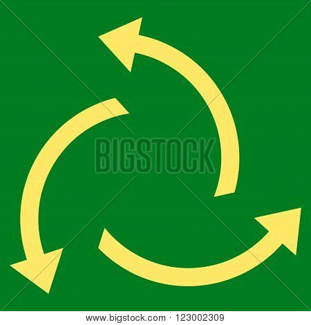 Centrifugal Arrows vector icon symbol. Image style is flat centrifugal arrows iconic symbol drawn with yellow color on a green background.