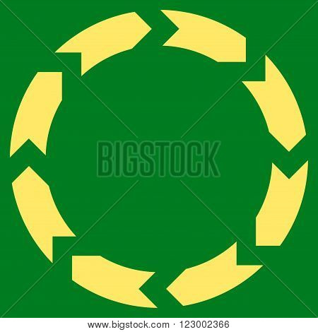 Circulation vector icon. Image style is flat circulation iconic symbol drawn with yellow color on a green background.