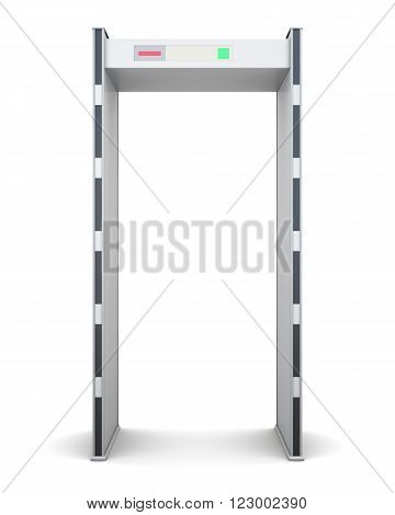 Frame of the metal detector isolated on white background. Front view. 3d rendering.