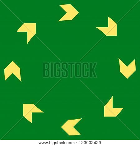 Circulation vector pictogram. Image style is flat circulation icon symbol drawn with yellow color on a green background.