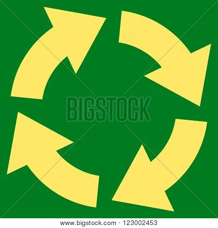 Circulation vector icon. Image style is flat circulation pictogram symbol drawn with yellow color on a green background.