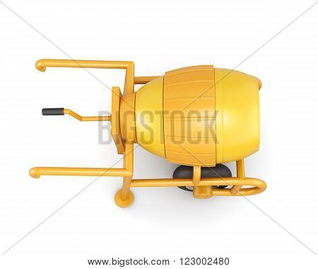 Top view manual mortar mixer isolated on white background. 3d rendering.