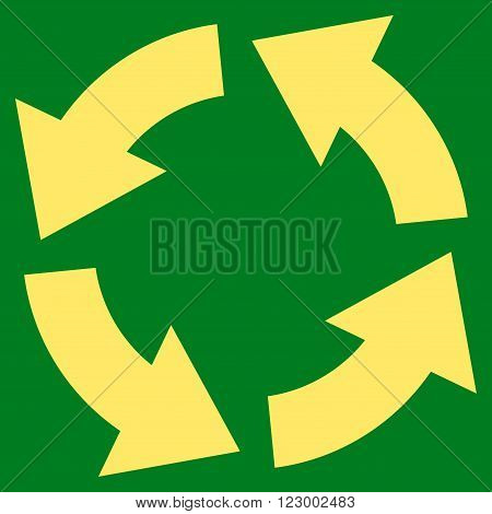 Circulation vector symbol. Image style is flat circulation iconic symbol drawn with yellow color on a green background.