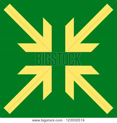 Collide Arrows vector symbol. Image style is flat collide arrows icon symbol drawn with yellow color on a green background.