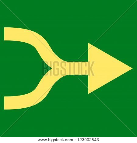 Combine Arrow Right vector pictogram. Image style is flat combine arrow right iconic symbol drawn with yellow color on a green background.