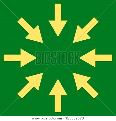 Compact Arrows vector symbol. Image style is flat compact arrows icon symbol drawn with yellow color on a green background.