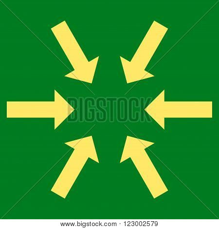 Compact Arrows vector symbol. Image style is flat compact arrows iconic symbol drawn with yellow color on a green background.