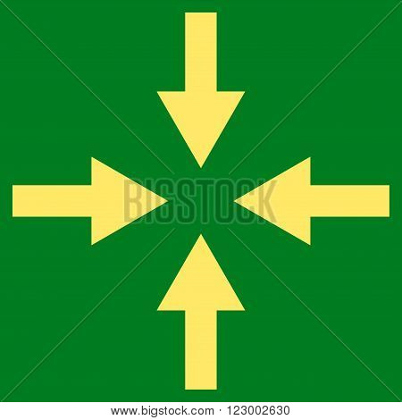 Compress Arrows vector pictogram. Image style is flat compress arrows pictogram symbol drawn with yellow color on a green background.