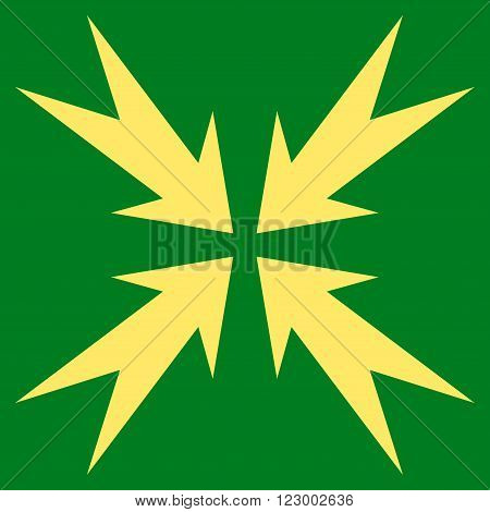 Compression Arrows vector pictogram. Image style is flat compression arrows icon symbol drawn with yellow color on a green background.