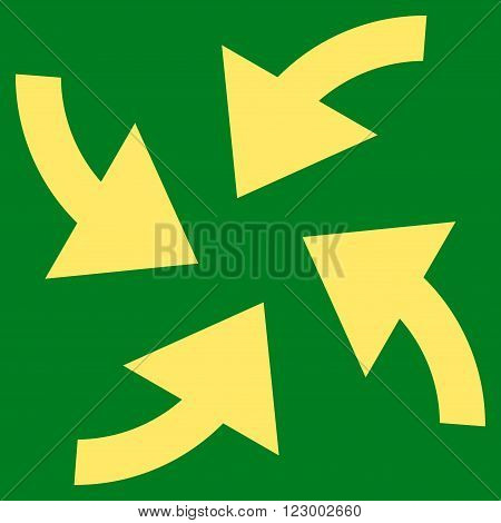 Cyclone Arrows vector symbol. Image style is flat cyclone arrows icon symbol drawn with yellow color on a green background.