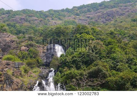 View of falls Dudkhsagar from a train window ** Note: Soft Focus at 100%, best at smaller sizes