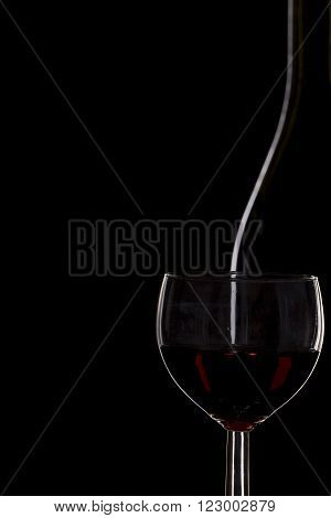 Bottle Of Wine And A Glass Of Wine On A Black Background, Minimalism