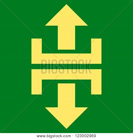 Divide Vertical Direction vector symbol. Image style is flat divide vertical direction iconic symbol drawn with yellow color on a green background.