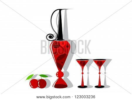 logo wine. A decanter with red wine, couple of glasses and cherry on a white background