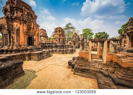Prasat Muang Tam historical park is Castle Rock old Architecture about a thousand years ago at Buriram Province,Thailand
