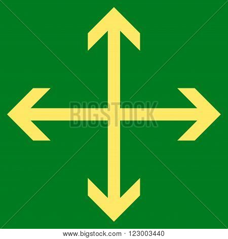 Expand Arrows vector pictogram. Image style is flat expand arrows icon symbol drawn with yellow color on a green background.